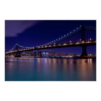 Poster Vue de pont de Manhattan la nuit