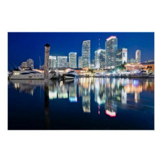 Poster Vue d'horizon avec la réflexion dans l'eau, Miami