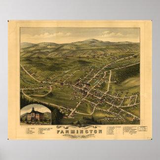 Poster Vue d'oeil d'oiseau de Farmington New Hampshire
