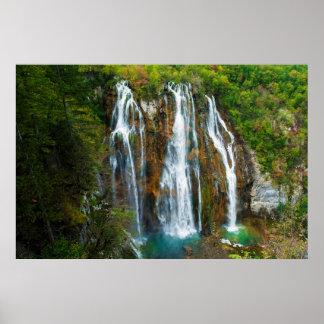 Poster Vue élevée par cascade, Croatie