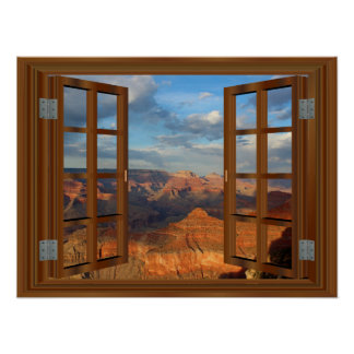 Poster Vue Etats-Unis de fenêtre de Faux de faux de