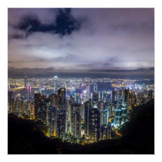 Poster Vue foncée de nuit de belle ville de Hong Kong