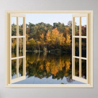 Poster Vue réfléchie de fenêtre de Faux de lac autumn
