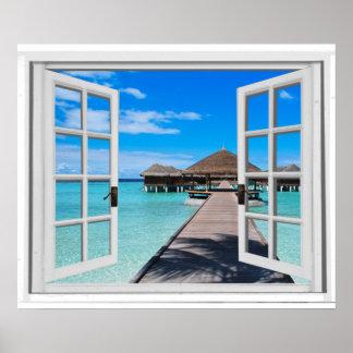 Poster Vue tranquille de fenêtre de faux d'océan de