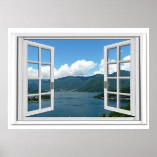 Poster Vue Trompe - l ' fausse fenêtre de lac mountain