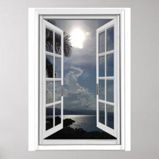 Poster Vue Trompe - l ' fausse fenêtre de mer d'oeil
