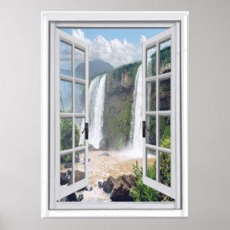 Poster Vue Trompe - l ' fenêtre de cascade de Faux d'oeil