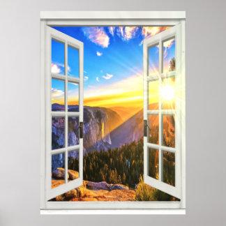 Poster Vue Trompe - l ' fenêtre de lever de soleil de