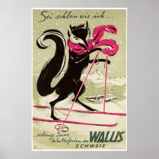 Poster Wallis, Valais, Suisse, affiche de ski