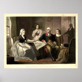 Poster Washington et son mezzotinto de famille par C.