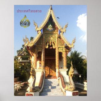 Poster Wat dans Chiang Mai avec l'oiseau de vol