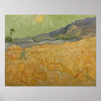 Poster Wheatfield de Vincent van Gogh | avec Reaper, 1889
