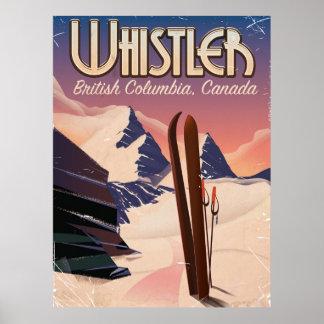 Poster Whistler, Vancouver, affiche de ski de
