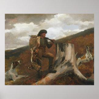 Poster Winslow Homer - un chasseur et chiens
