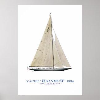 """Poster yacht """"arc-en-ciel"""" de tasse des Amériques,"""