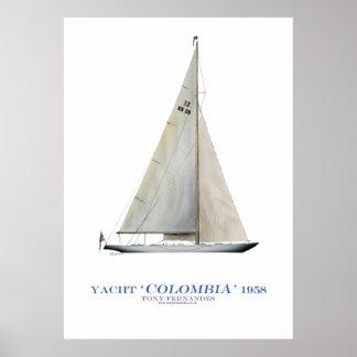 """Poster yacht """"Colombie"""" de tasse des Amériques, fernandes"""