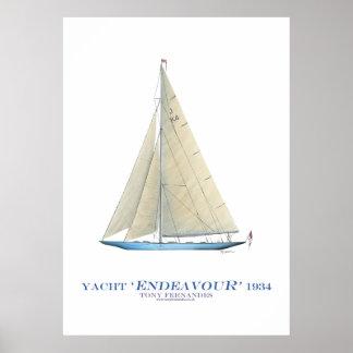 "Poster yacht ""effort"" de tasse des Amériques, fernandes"