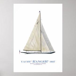 """Poster yacht """"garde forestière"""" de tasse des Amériques,"""