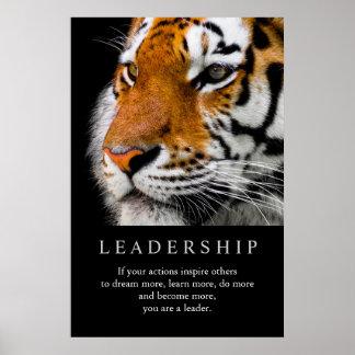 Poster Yeux de motivation à la mode de tigre de direction