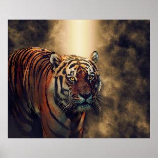 Poster Yeux de tigre de tigre brûlant lumineux
