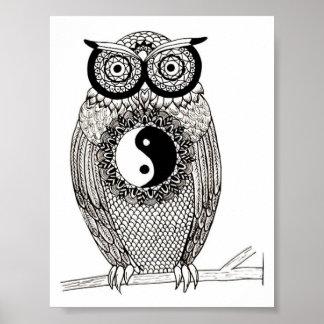 Poster Yin-Yang Owl affiche