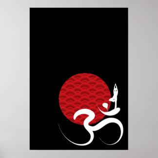 Poster Yoga et affiche rouge de chant religieux de