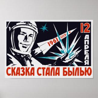 Poster Yuri Gagarin - propagande soviétique vintage de