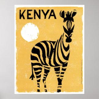 Poster Zèbre vintage du Kenya Afrique