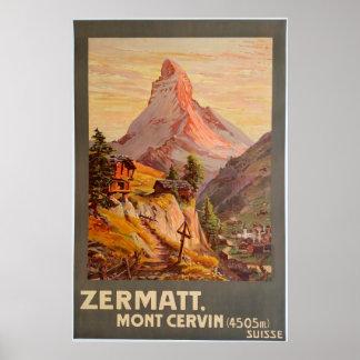 Poster Zermatt, Mont Cervin, Suisse, affiche de ski