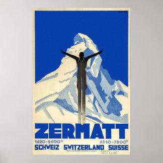 Poster Zermatt, Suisse, affiche de ski