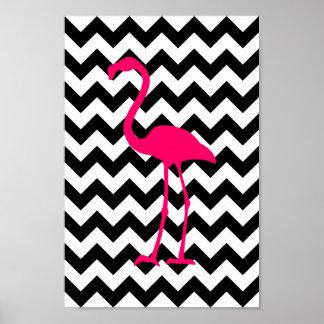 Poster Zigzag noir et blanc de flamant rose lumineux