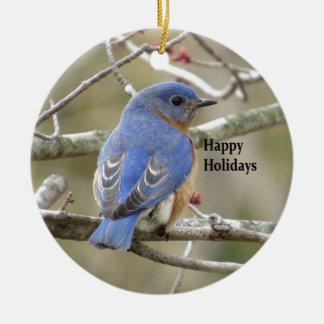 Postérieur d'oiseau bleu ornement rond en céramique