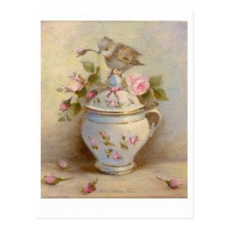 Pot à crème & boutons de roses ✿  Atelier Flont Cartes Postales