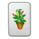 Pot avec le plante rouge et jaune de poivre poche macbook air