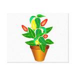Pot avec le plante rouge et jaune de poivre impression sur toile