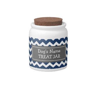 Pot blanc bleu de festin de chien de motif de Chev Pot À Bonbons