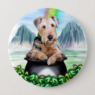 Pot d'Airedale Terrier de bouton d'or Badges