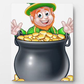 Pot de lutin de jour de Patricks de saint d'or Impressions Sur Plaque