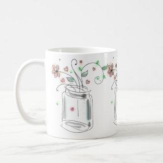 Pot de maçon avec l'art mignon moderne de mug