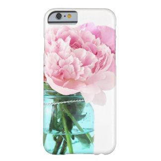 Pot de maçon bleu de pivoines roses coque iPhone 6 barely there