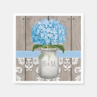 Pot de maçon décoré d'un monogramme bleu serviette en papier