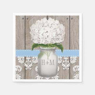 Pot de maçon décoré d'un monogramme bleu serviettes jetables