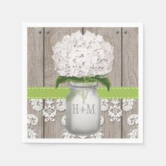 Pot de maçon décoré d'un monogramme vert serviettes jetables