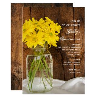 Pot de maçon et invitation jaune de Quinceañera de