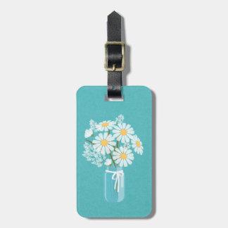 Pot de maçon floral élégant de marguerites étiquette pour bagages