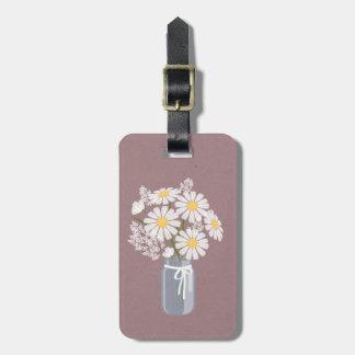 Pot de maçon floral élégant de marguerites étiquettes bagages