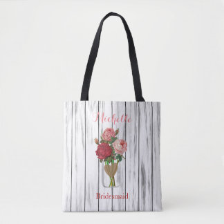 Pot de maçon rose élégant - jeune mariée d'équipe sac