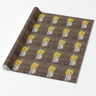 Pot de maçon rustique de tournesol de mariage de papier cadeau