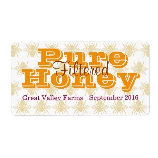 Pot de miel filtré par reine des abeilles étiquette d'expédition