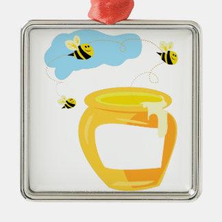 Pot de miel ornement carré argenté